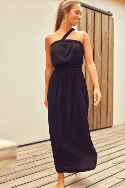Cleo One Shoulder Black Dress