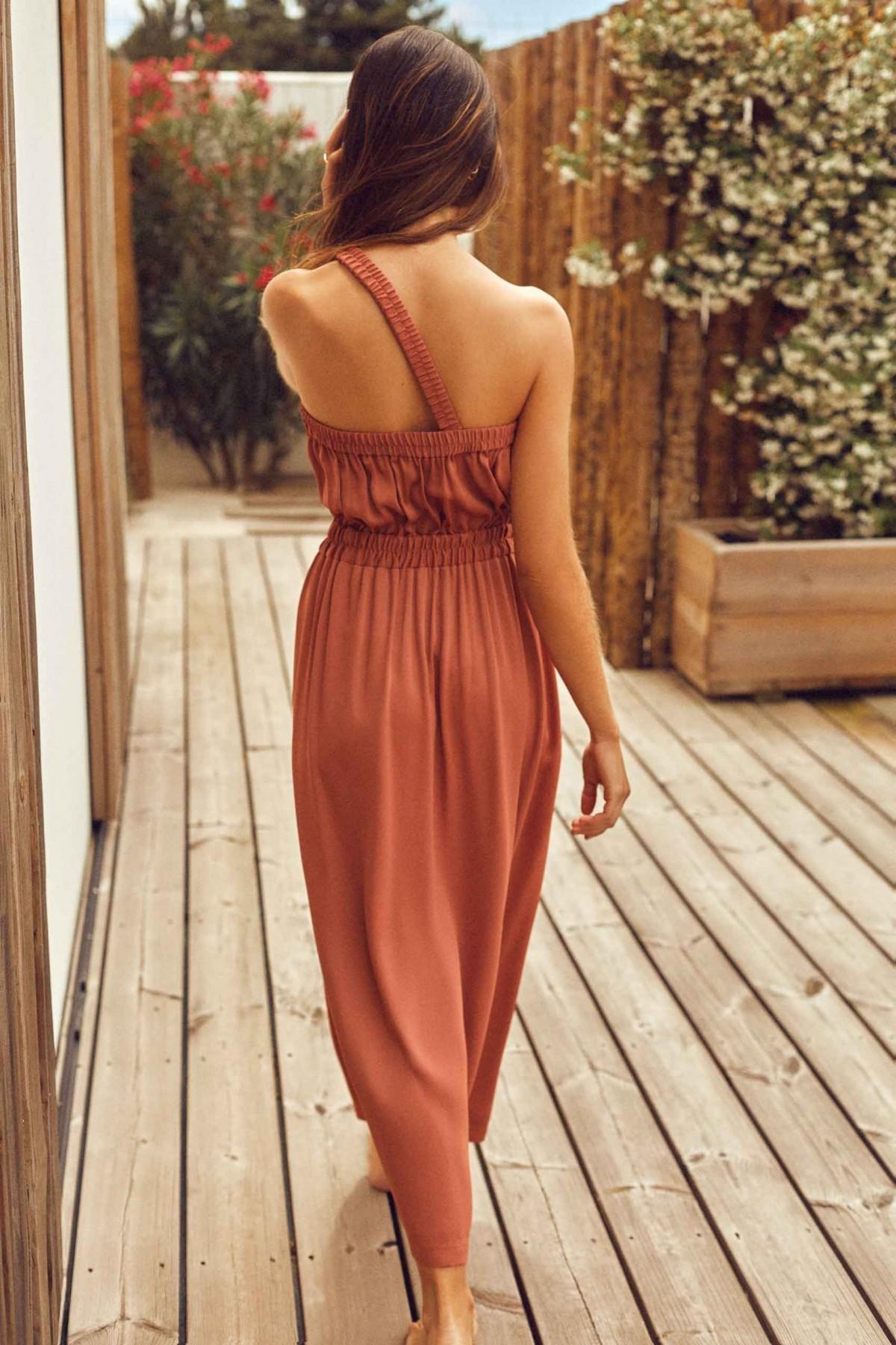 Cleo One Shoulder Terracota Dress