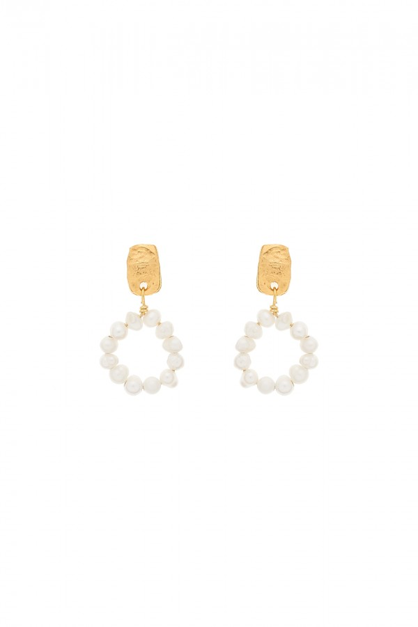 Pearly Circle Earrings